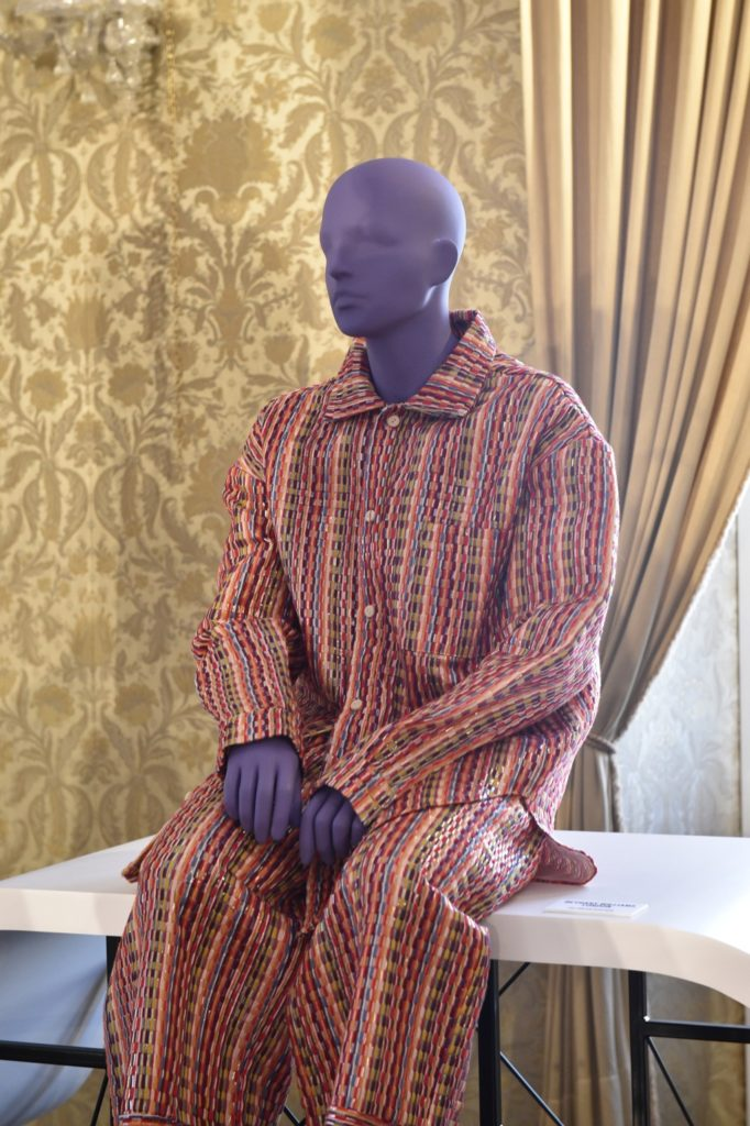 Bethany Williams on a male mannequin from the Tribe collection for Vogue Talents