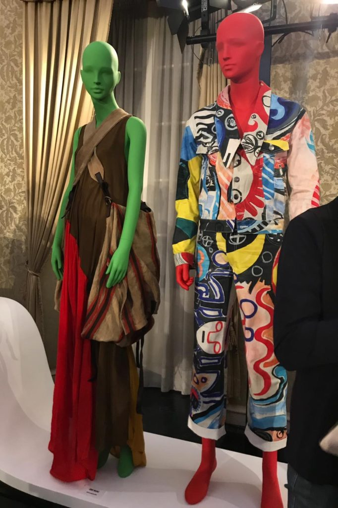 Uma Wang on the left and Charles Jeffrey on the right on Tribe male and female mannequins for Vogue Talents